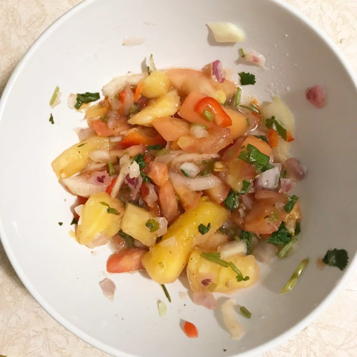 pineapple salsa mixed in bowl