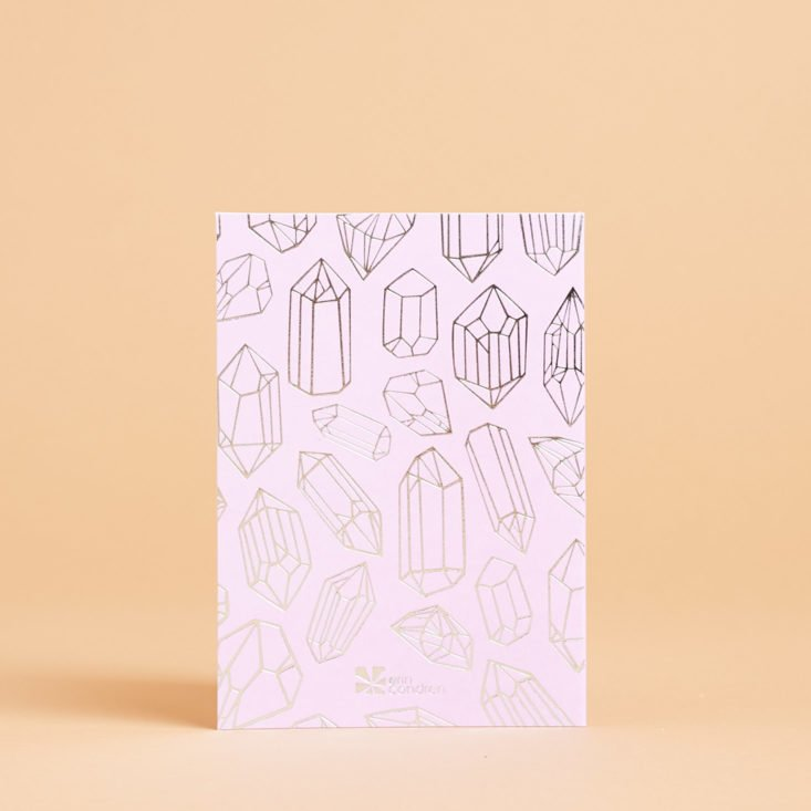 metallic lilac and silver greeting card with crystal design