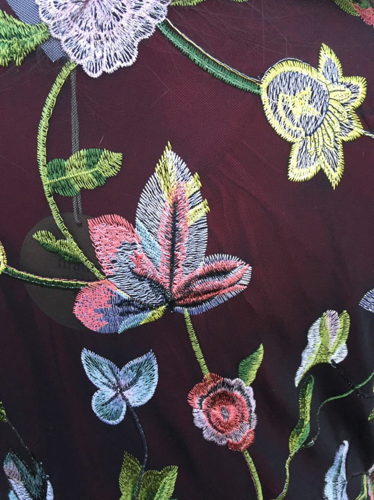 Daine Embroidery Detail Kimono by Honey Punch close up of embroidery