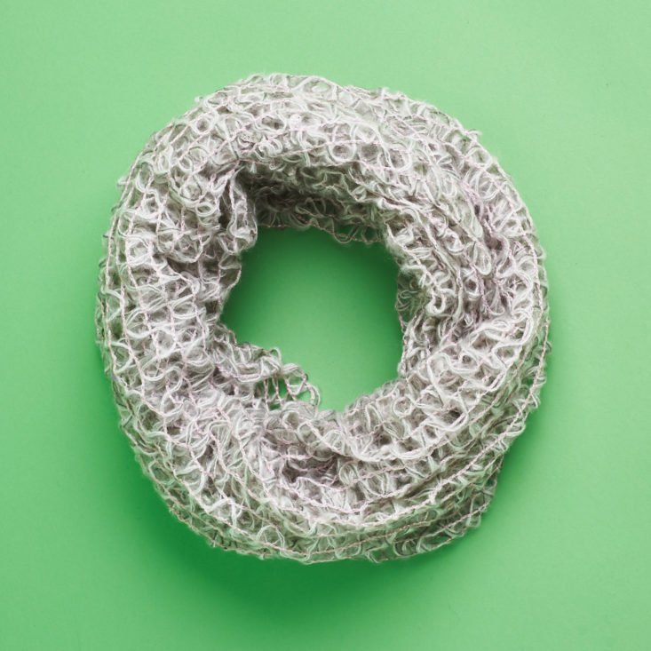 gray open knit scarf