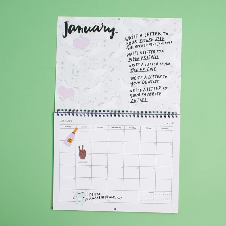 january page of happy mail calendar