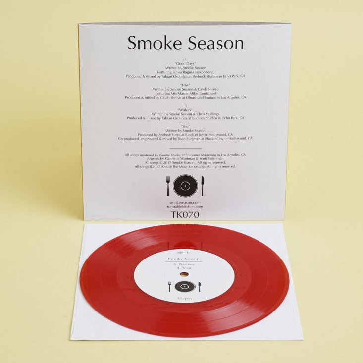 """back of front of Smoke Season red 7"""" record"""