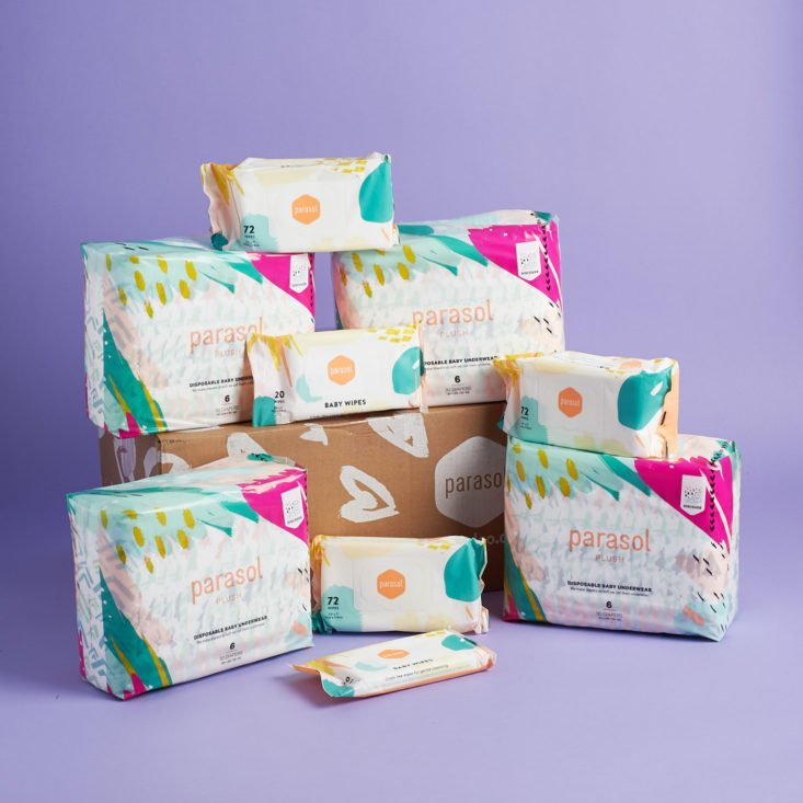 parasol diaper subscription modern printed diaper packs, wipes, and shipping box