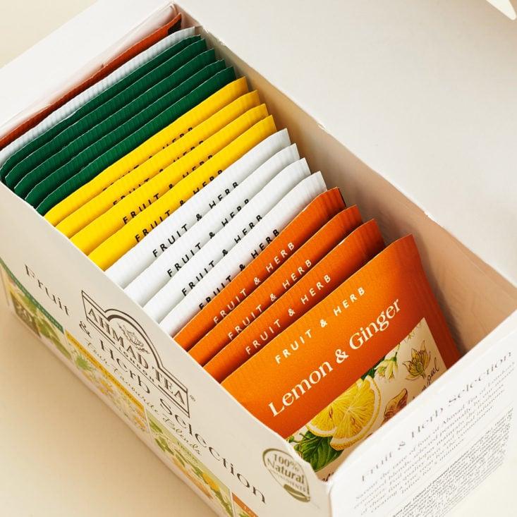 Ahmad Tea London Fruit and Herb Selection box, open