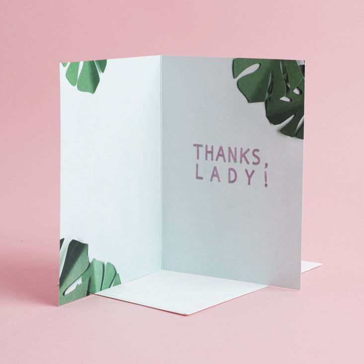 "inside of lana red studio ""thanks lady"" card"