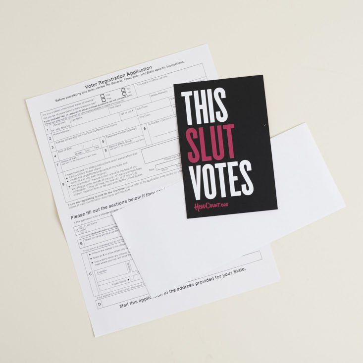 Voter Registration paperwork with info card