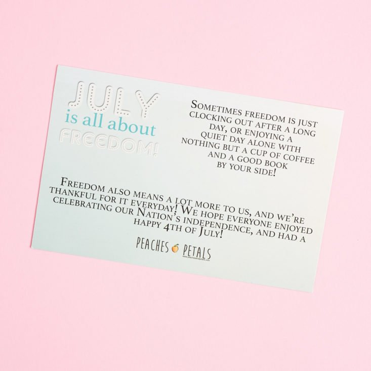 back of Hello July Card