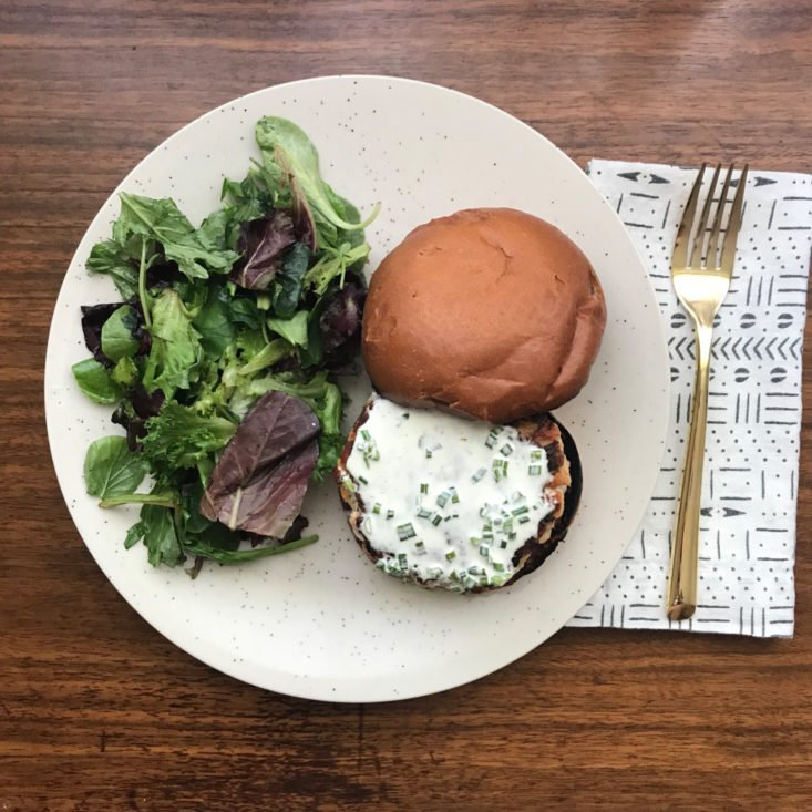 Plated Salmon Burgers with Chive Aioli and Watercress