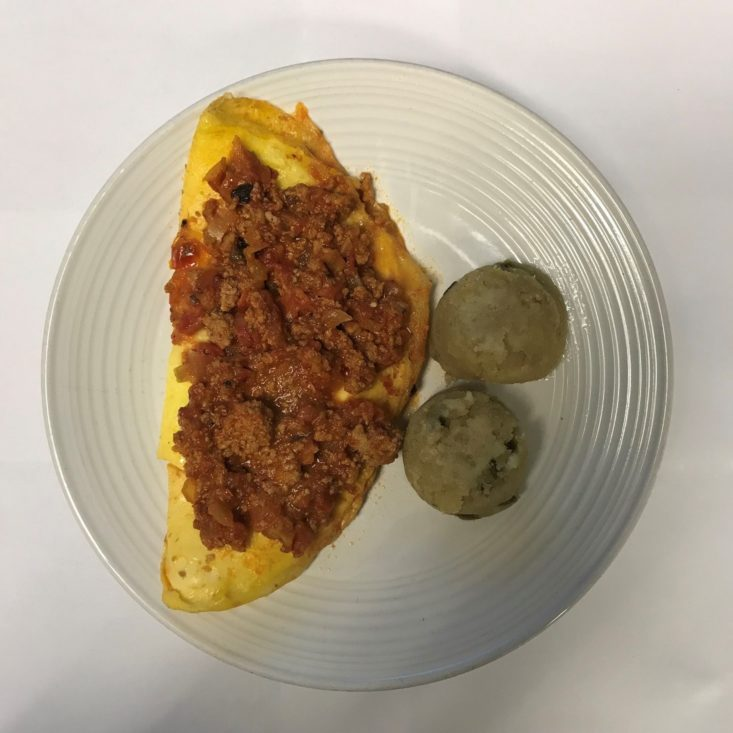 Freshly October 2018 - Mexican Omelette with Salsa Roja & Masa Cakes Unplated