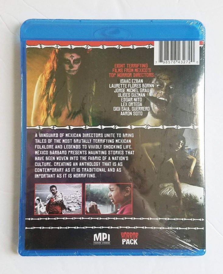 Horror Pack Subscription Box August 2018- Mexico Barbaro DVD Back