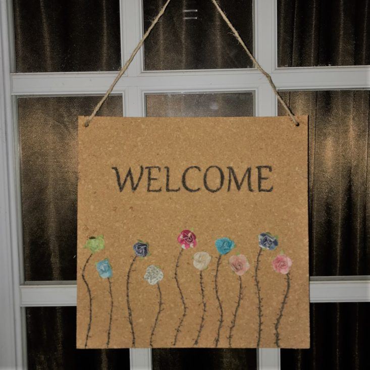 Adults & Crafts Cork Burning Kit October 2018 Review - Finished Product - Welcome Sign 2 Top