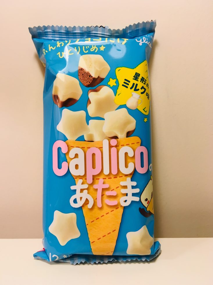 Japan Candy Box December 2018 - Glico Caplico Atama White Chocolate Stars Pouch Front