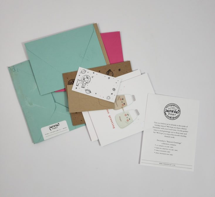 Pennie Post Subscription Box December 2018 - Envolepe Open With Cards