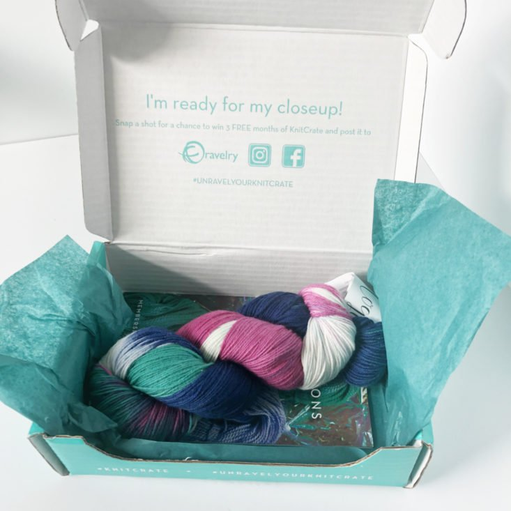 Knitcrate Sock Yarn Subscription Review February 2019 - Box Open Front
