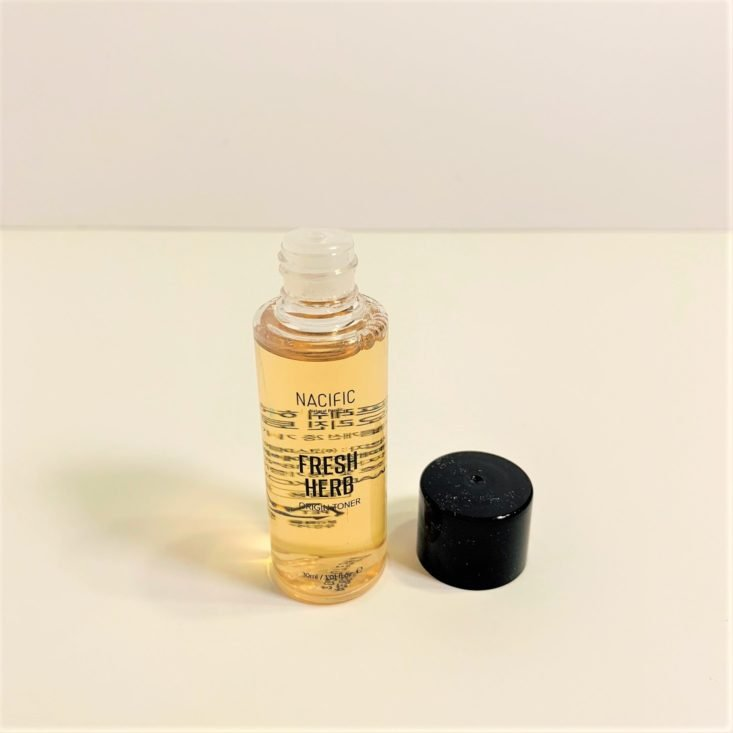 BomiBox Review February 2019 - Nacific Fresh Herb Toner Uncapped Top