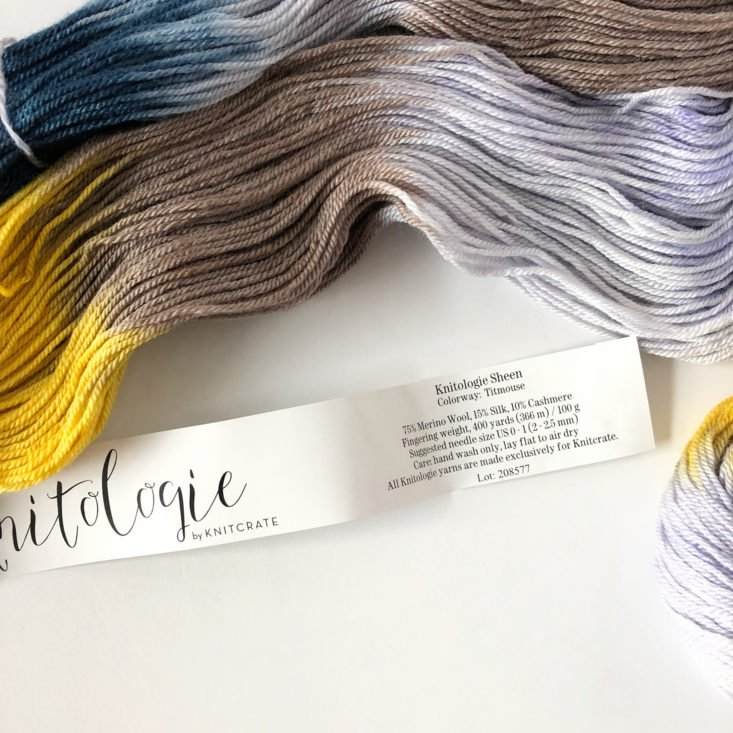 KnitCrate Membership Review March 2019 - Knitologie Sheen by KnitCrate yarn in color Titmouse Yarn Label Info Top