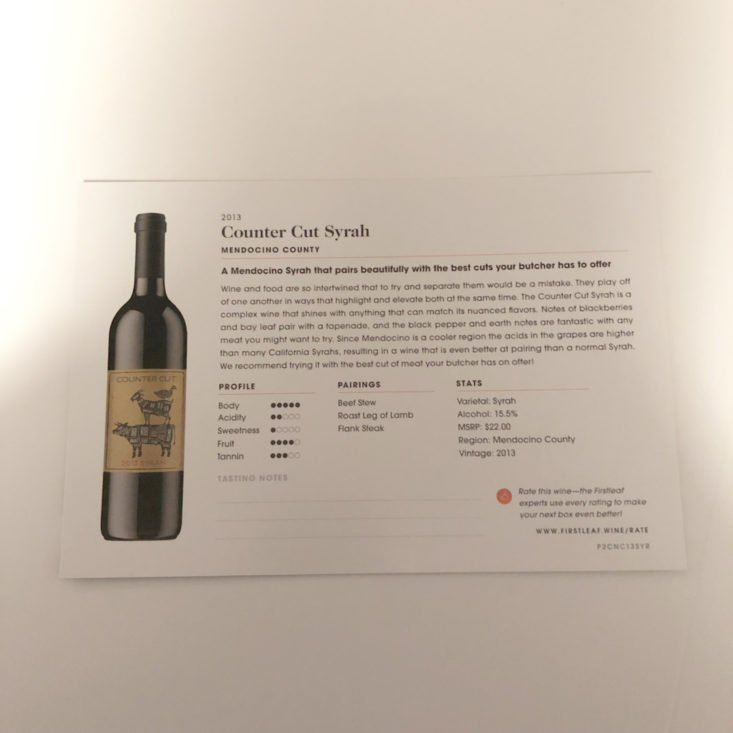 Firstleaf Wine Subscription March 2019 Review - 2013 Counter Cut Syrah Info Back Top