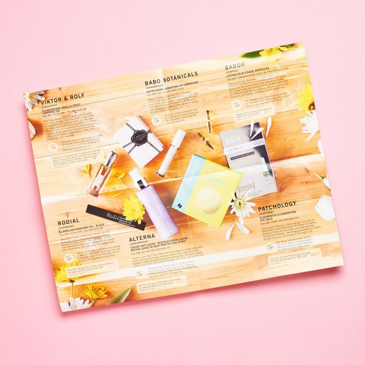 Glossybox Mother's Day Limited Edition April 2019 review booklet inside product info