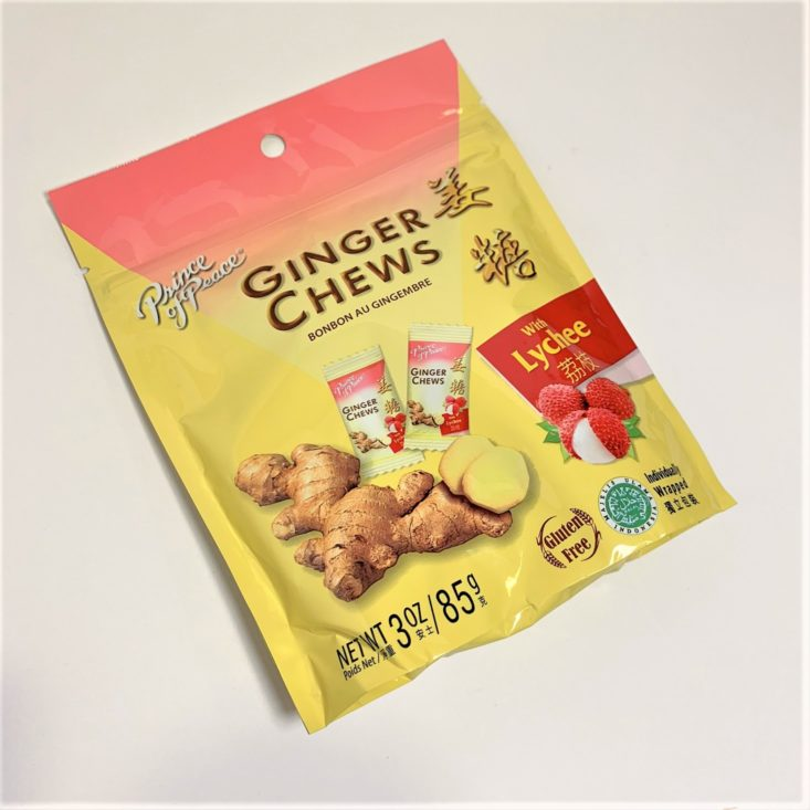 SnackSack Gluten-Free Review March 2019 - Prince of Peace Ginger Chews with Lychee Front Top