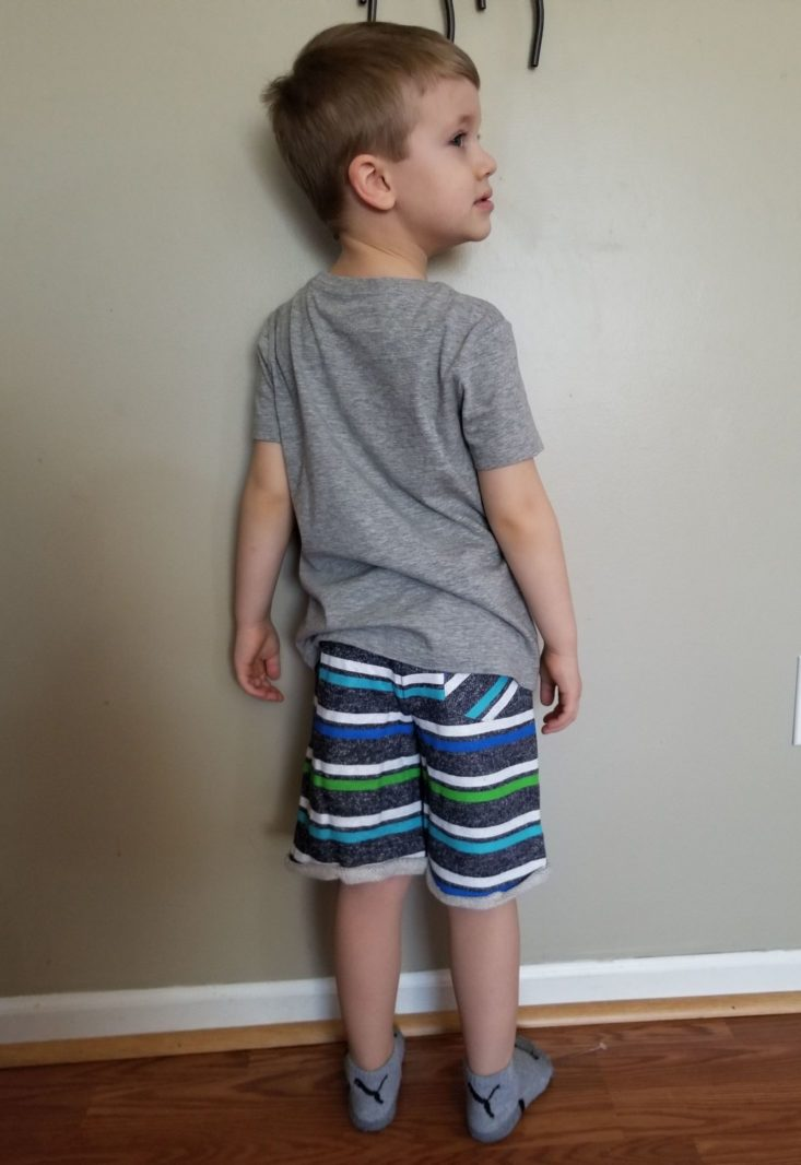 Stitch Fix Boys April 2019 dino tee and striped shorts modeled back