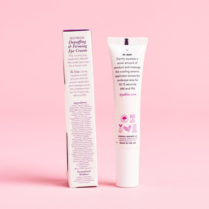 New Beauty Test Tube April 2019 review eye cream back info