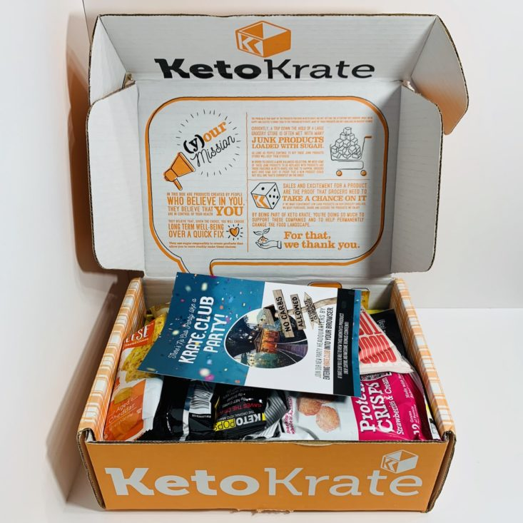 Keto Krate August 2019 - Opened Box