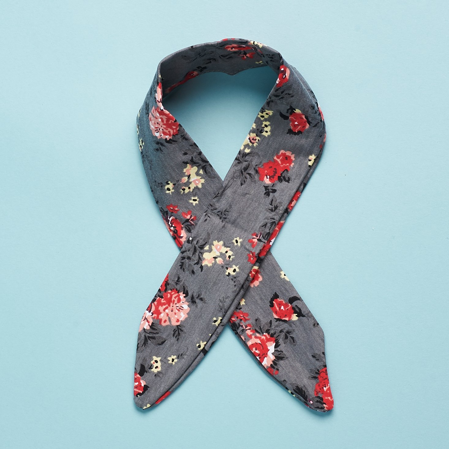 Headbands of Hope Grey Floral Knotted Headband crossed
